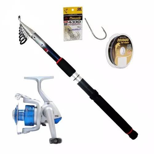 Kit pesca molinete 3 rolamento vara 1,80 30lb linha 10 anzol