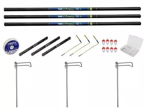 Kit pesqueiro - 3 varas telescópica de 4 metros 22% carbono