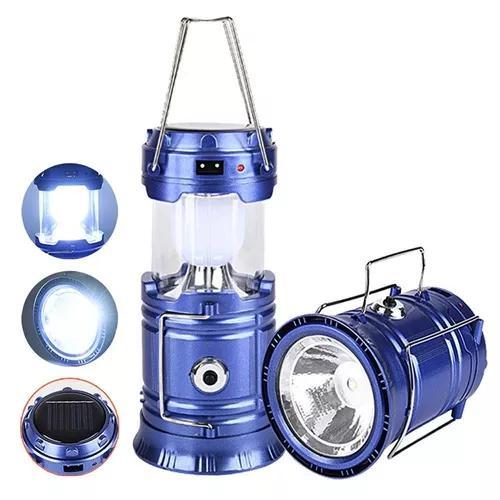 Lampião led lanterna recarregavel eletrico solar camping