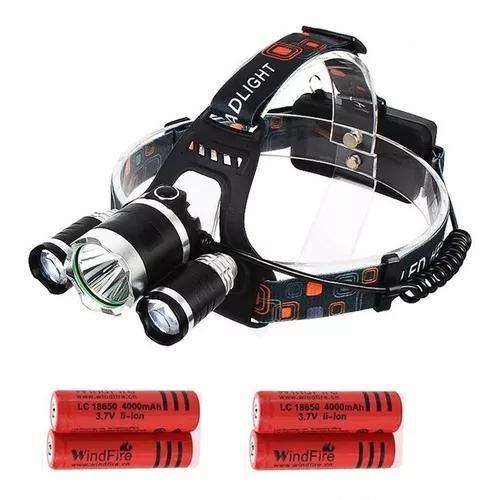Lanterna cabeça triplo t6 led cree tatica swat + 4 bateria