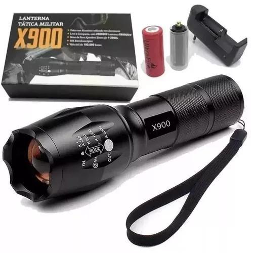 Lanterna tática profissional bateria recarregável led t6