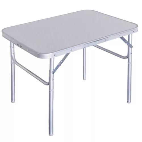 Mesa dobrável alumínio 75x55x25/60 cm vira maleta camping