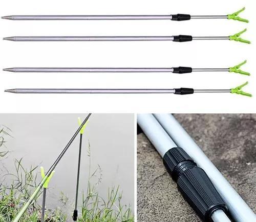 Suporte de vara de pesca ajustável p/ 2 varas alumínio