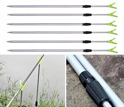 Suporte de vara de pesca ajustável p/ 3 varas alumínio