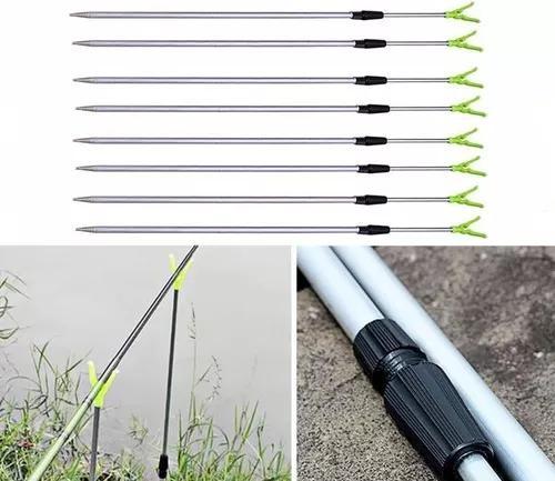 Suporte de vara de pesca ajustável p/ 4 varas alumínio