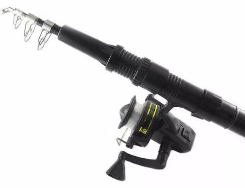 Vara pesca kit molinete + acessorios completo telescopica