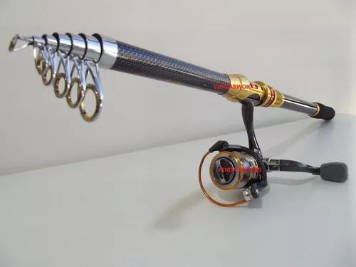 Vara pesca telescópica e molinete profissional alumínio
