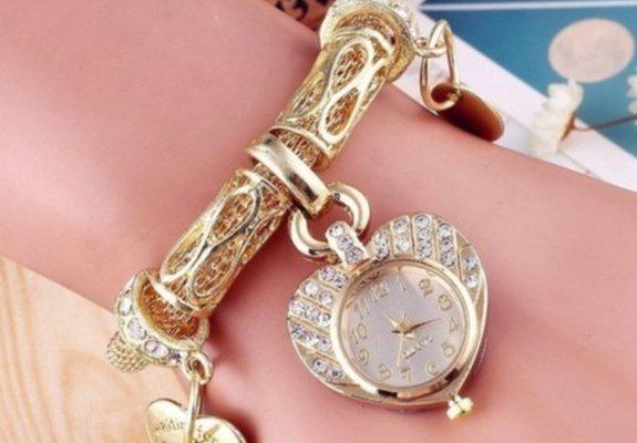 Relogio pulseira feminina de aço inoxidável dourado