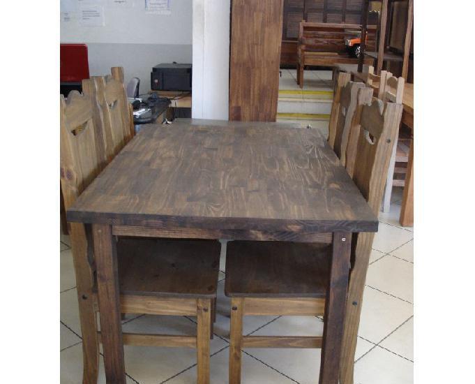 Mesa 4 cadeiras madeira maciça