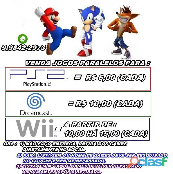 Jogos diversos paralelos ps2, nintendo wii e dreamcast