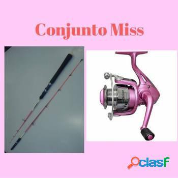 Conjunto miss - molinete e vara rosa