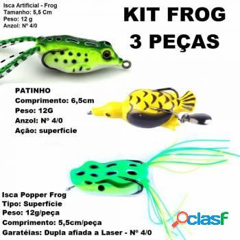 Kit c/ 3 iscas traíra pato frog popper patinho