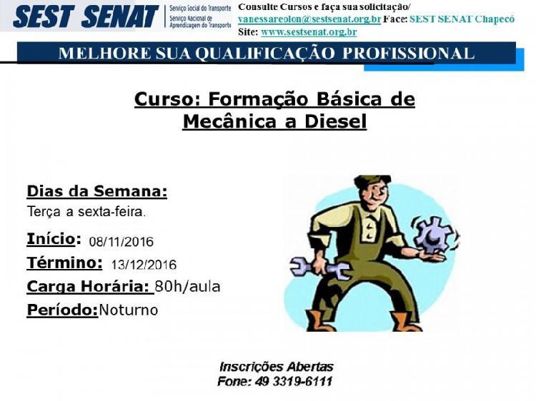 Curso: formação básica de mecânica a diesel
