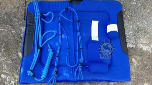 Manta + cabresto + cabeçada + liga - azul - oferta ate