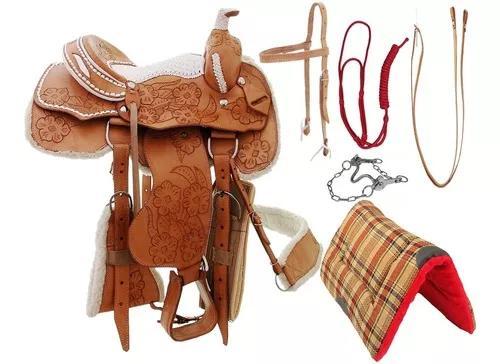 Sela prova de laço 17 couro búfalo inox completa manta