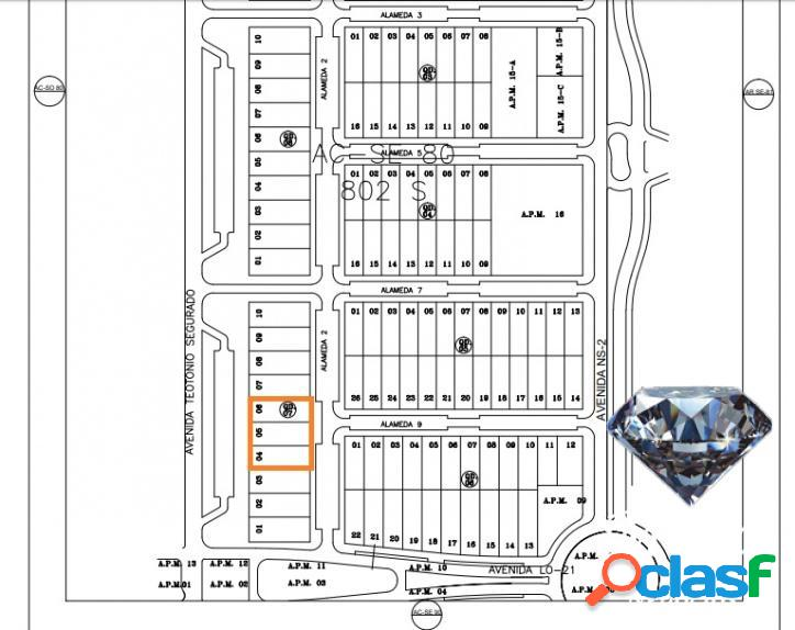 Lotes de 975 m², total de 2.925 m² na av. teotônio - 802 sul