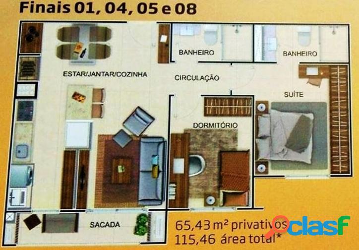 Acqua residence club - apartamento 2 dormitórios 1 suite - três vendas pel