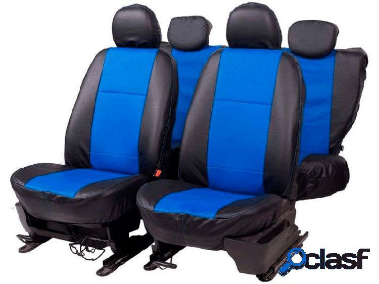 Capa banco em courvim automotivo preto / azul car fashion