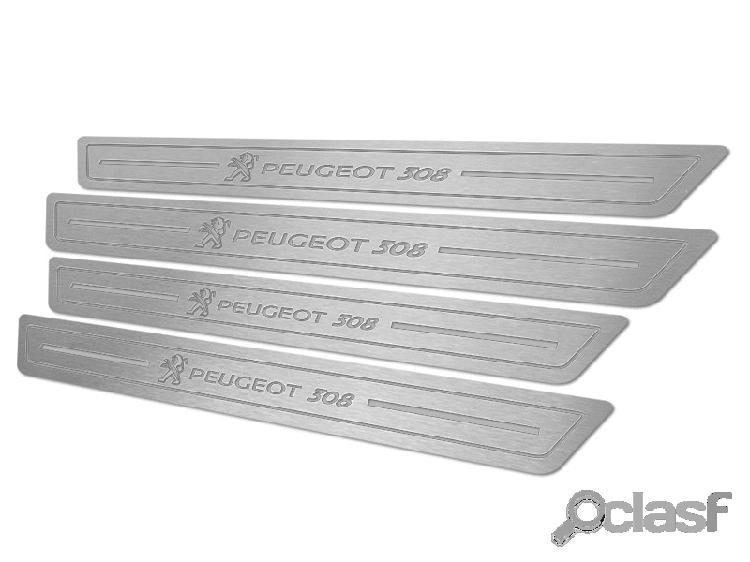 Soleira de porta peugeot 308 em aço inox escovado prata