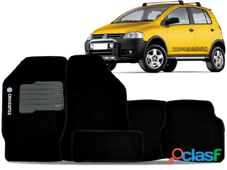 Tapete personalizado volkswagen crossfox 04/15 preto 5pç + trava segurança