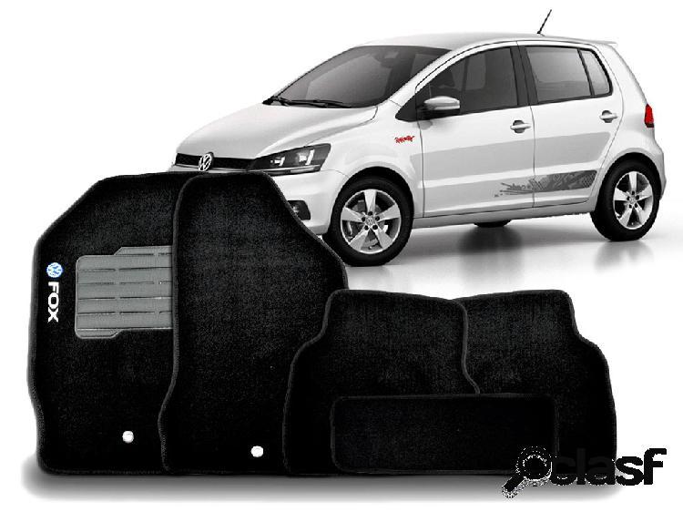 Tapete personalizado volkswagen fox 03/15 preto 5pç + trava segurança
