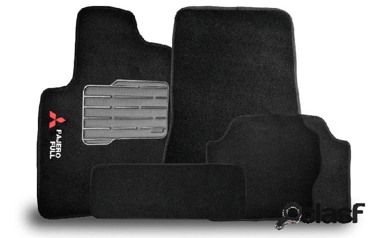 Tapete personalizado mitsubishi pajero full 01/15 preto 5pç + trava segurança