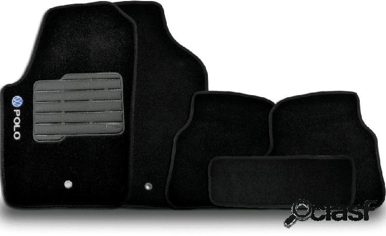 Tapete personalizado volkswagen polo 07/15 preto 5pç + trava segurança