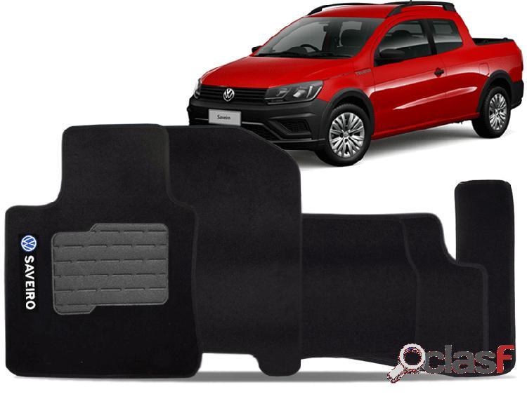 Tapete personalizado volkswagen saveiro 09/15 preto 5pç + trava segurança