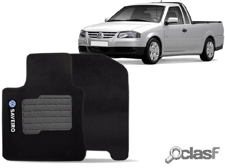 Tapete personalizado volkswagen saveiro 98/12 preto 2pç + trava segurança