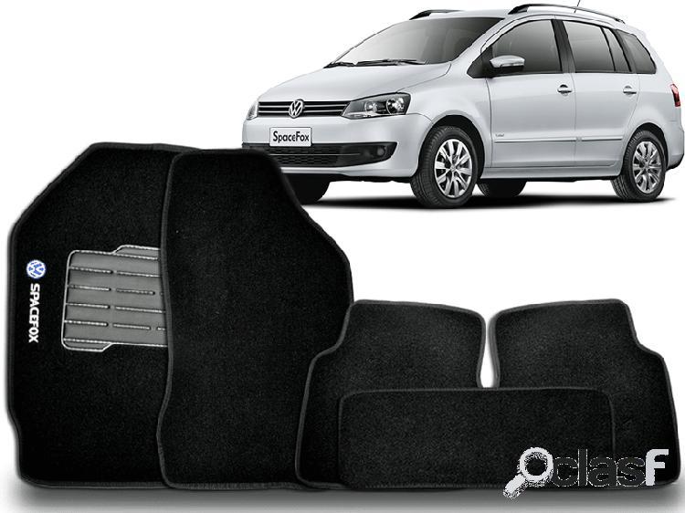 Tapete personalizado volkswagen spacefox 06/15 preto 5pç + trava segurança