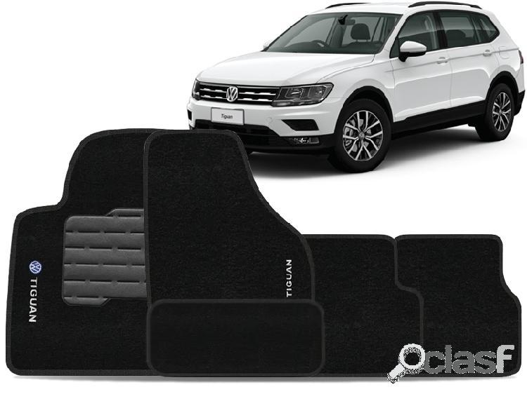 Tapete personalizado volkswagen tiguan 08/15 preto 5pç + trava segurança