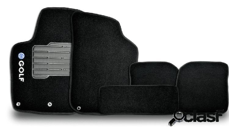 Tapete personalizado golf 92/98 preto 5pç + trava segurança