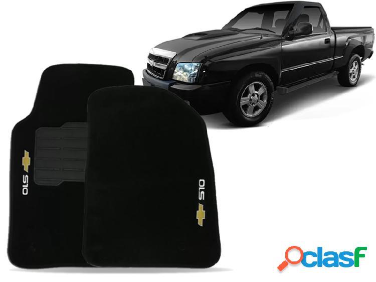 Tapete personalizado s10 cabine simples 95/11 preto 2pç + trava segurança