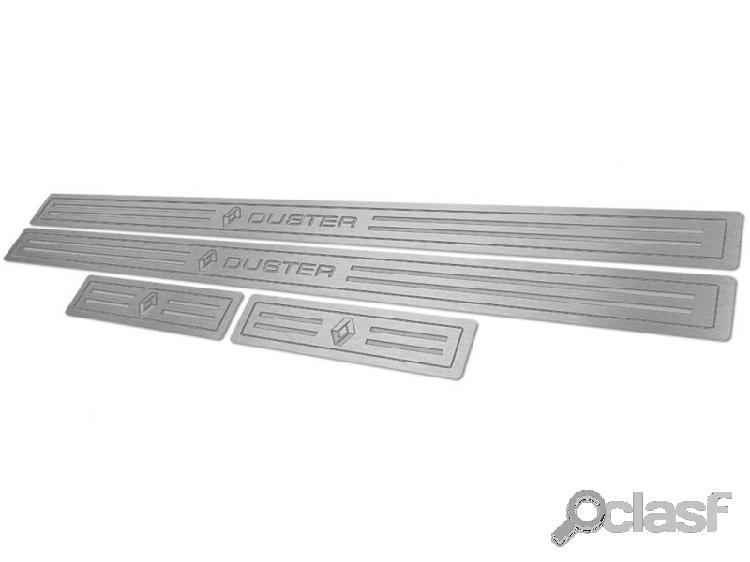 Soleira de porta renault duster em aço inox escovado prata