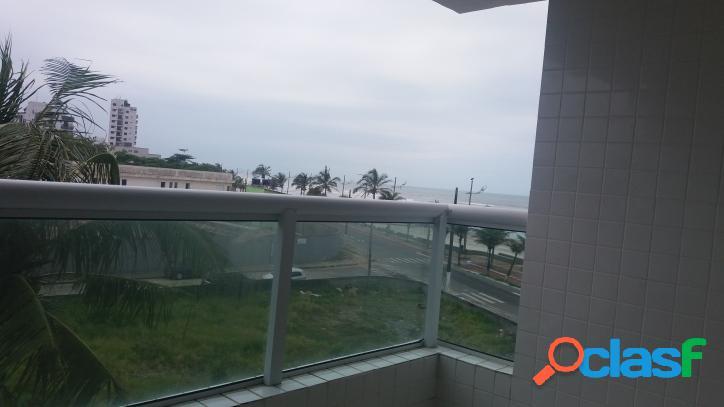 Apartamento em mongaguá, sacada gourmet vista do mar