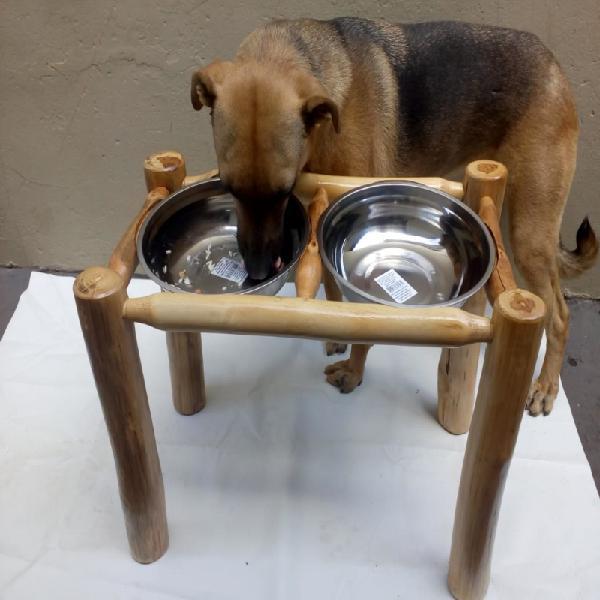Comedouro bebedouro pet em madeira cães gatos animais de
