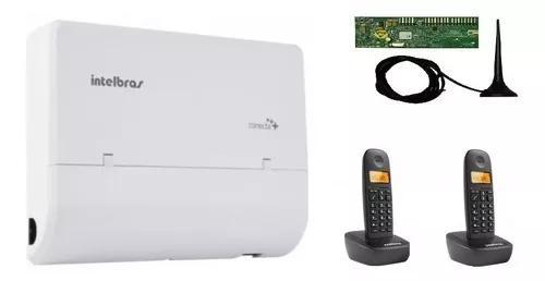 Central pabx conecta + 2 linhas e 8 r. placa dect +2telefone