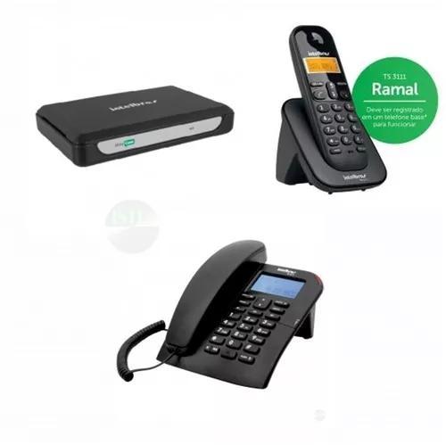 Kit 5 ramais com fio e 2 s/fio central telefônica minicom