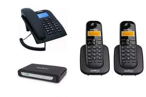Kit pabx central telefonica minicom slim intelbras 3 ramais
