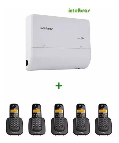 Kit pabx modulare + 4/12 intelbras + 5 ramais s