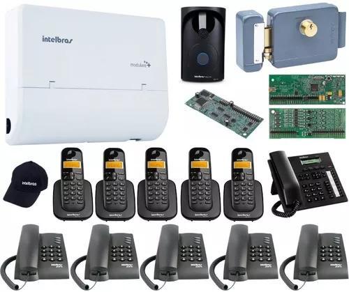 Kit pabx telefonia 2x8 disa bina intelbras acessorios kit 15