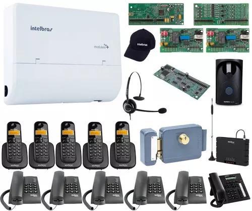 Kit pabx telefonia 4x12 disa bina intelbras acessorios kit16