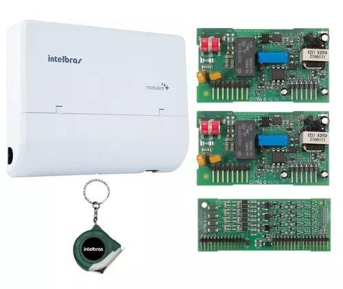 Microcentral telefonia fixa 4x8 modulare + intelbras kit 4