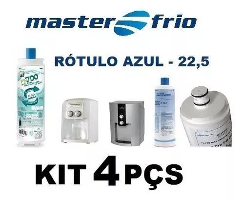 4 filtro refil masterfrio purificador rotulo azul 22,5