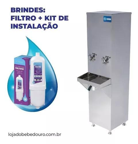 Bebedouro industrial coluna inox 25 litros filtro grátis