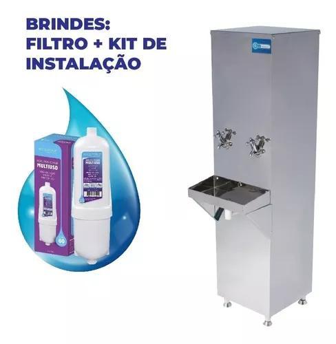 Bebedouro industrial coluna inox 25l + filtro 1 ano garantia