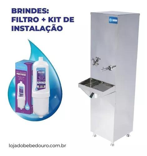 Bebedouro industrial coluna inox 25l + kit instalação top