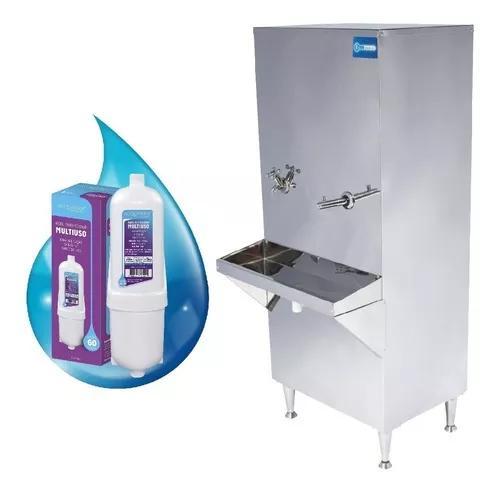Bebedouro industrial coluna inox 50 litros filtro + kit