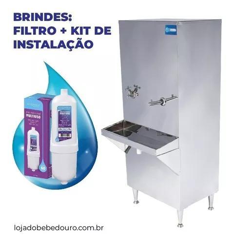 Bebedouro industrial coluna inox 50l + filtro 1 ano garantia