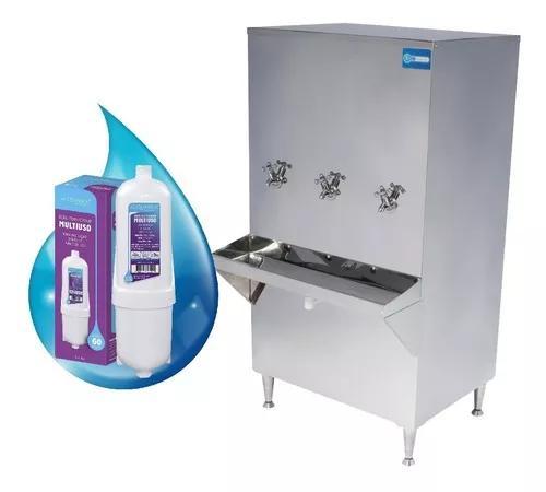 Bebedouro purificador ind. coluna inox 200 litros 110/220